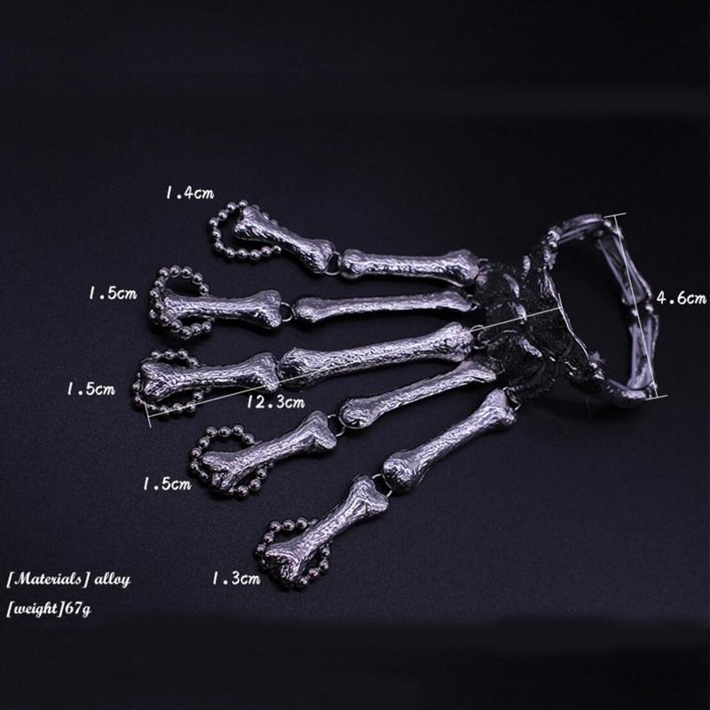 ZRM Punk Gothic Skull Bracelet Hand Bone Bangles Flexible Metal Bracelets For Women Men Nightclub Party Hip Hop Jewelry