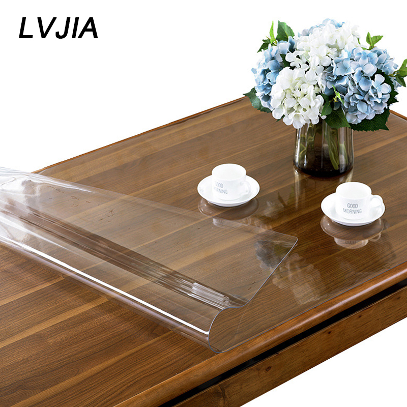 PVC Tablecloth Transparent Table Cloth Soft Glass Table Cover Waterproof Kitchen Pattern Oil Tablecloth Anti-iron Cloth 1mm