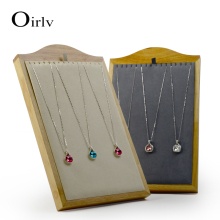 Oirlv New Solid Wooden Jewelry Display Stand Necklace/Pendant Holder Shelf with Microfiber Internal  for Showcase Organizer