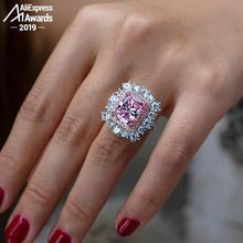 Oh meu deus meu sonho cor diamante anel 12*10mm corte radiante s925 prata esterlina fina casamento citrino safira ametista rubi
