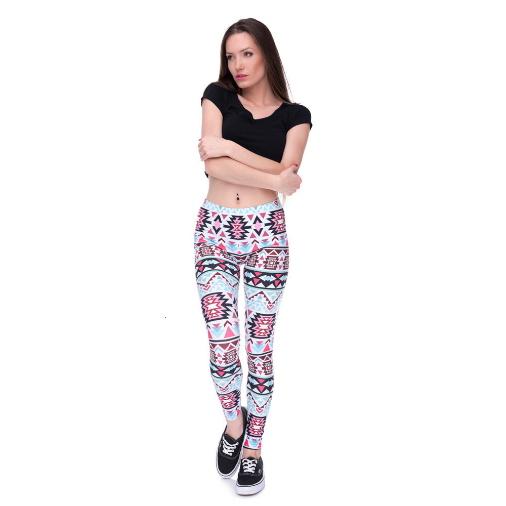 Brands Women Fashion Legging Aztec Round Ombre Printing leggins Slim High Waist  Leggings Woman Pants 54