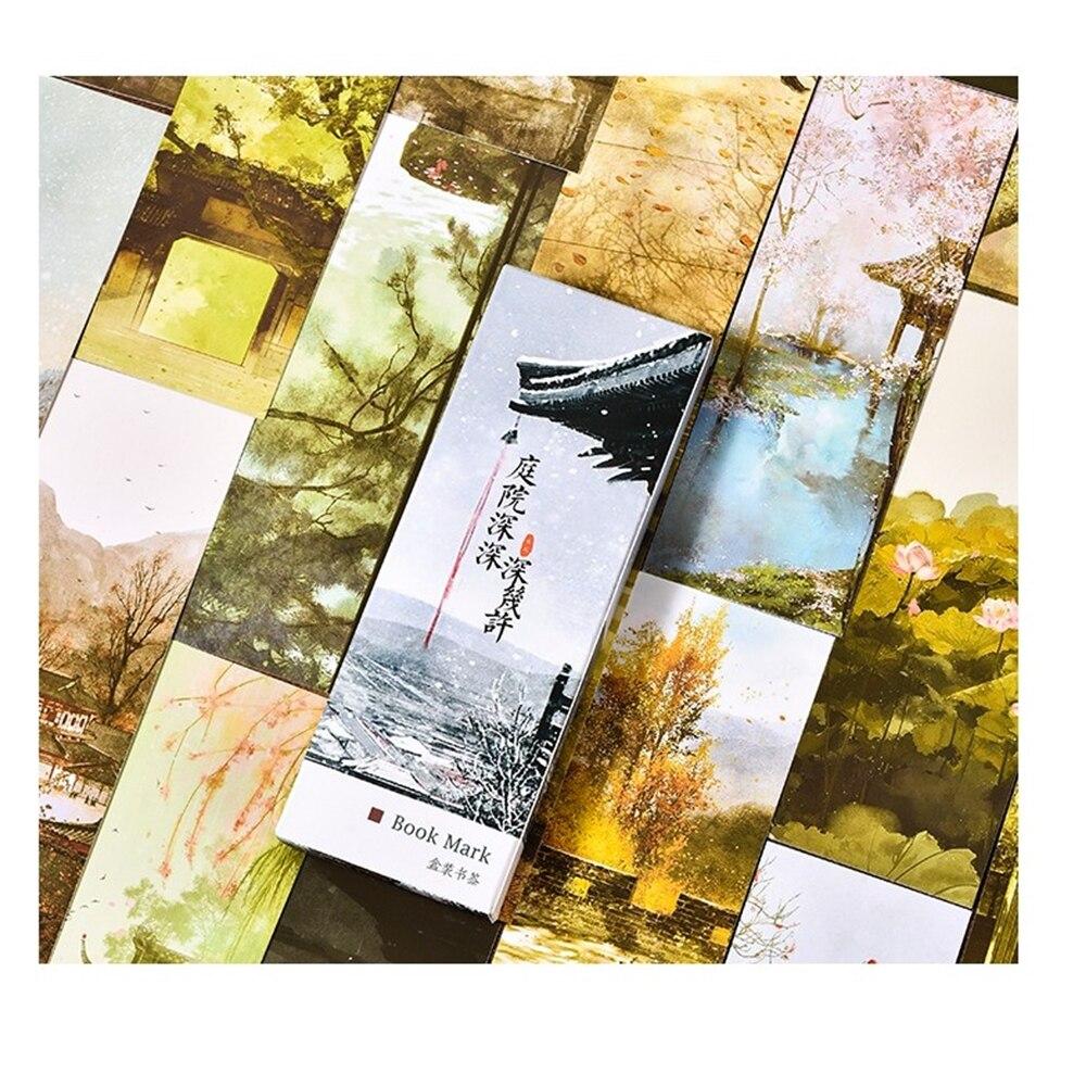 30 шт./упак. Винтаж двор Бумага закладки картина карт в стиле ретро красивые закладки в коробке подарки