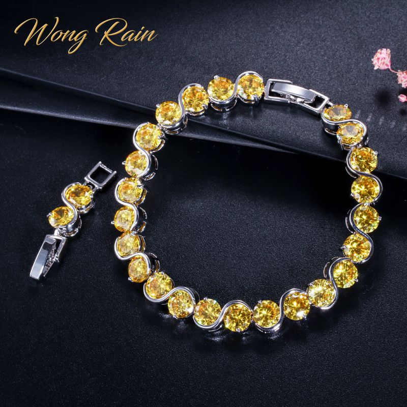 Wong Rain Bohemian 100% 925 Sterling Silver Created Moissanite Citrine Gemstone Bangle Charm Bracelets Fine Jewelry Wholesale