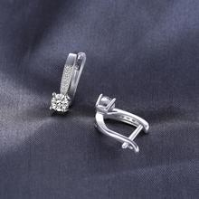 Cubic Zirconia Paved Hoop Sterling Silver Earrings Jewelry