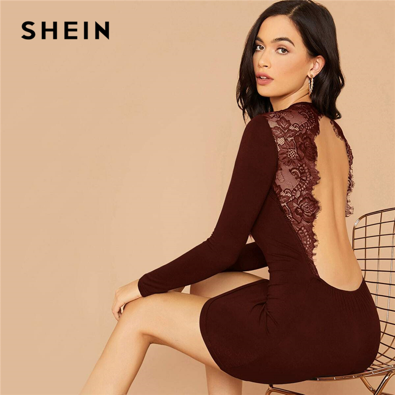 SHEIN Solid Contrast Lace Insert Backless Sexy Bodycon Dress Women Spring Long Sleeve Ladies Form Fitted Stretchy Mini Dresses