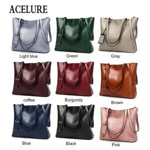 Image 5 - ACELURE מוצק צבע כתף שקיות לנשים רך עור מפוצל מזדמן טוטס עבור נקבה כל התאמה גבירותיי גבוהה קיבולת תיקים