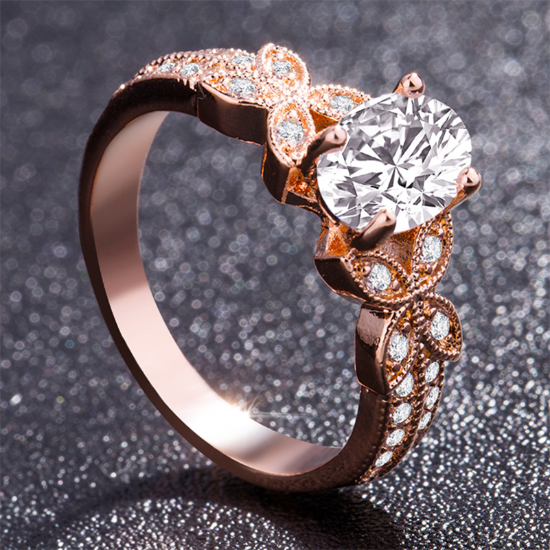 14k Rose Gold Diamond Ring For Women Bague Gift For Mom Wedding Gemstone 14 K Gold And Diamond Engagement Jewelry Ring Bizuteria