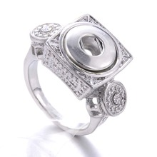 New Fashion Sale Snap Button Jewelry Metal 12mm Rhinestone buttons Ring Ladies Wholesale