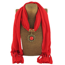 Round gemstone ancient gold alloy pendant scarf lady foreign trade trend jewelry polyester sweatcloth tassel