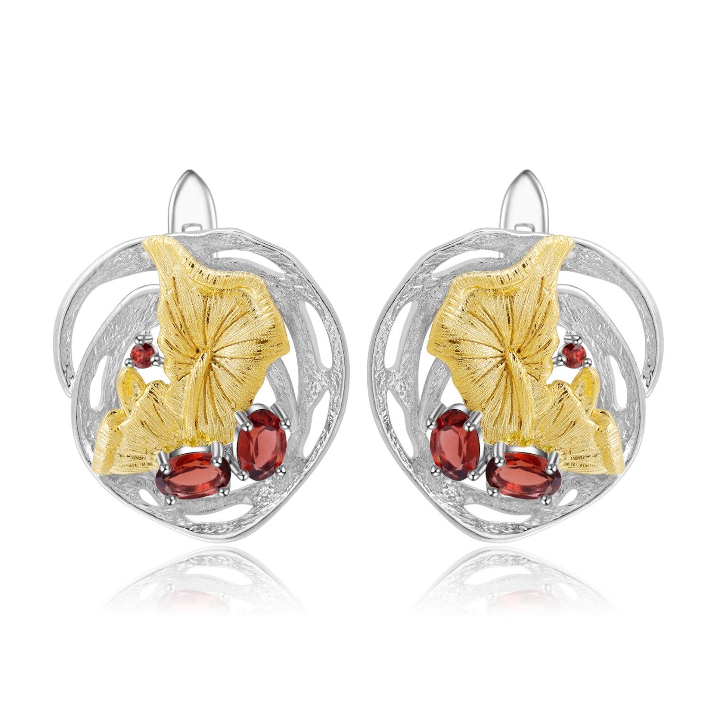 GEM'S BALLET 925 boucles d'oreilles en argent Sterling avec pierres précieuses naturel rouge grenat fait à la main Lotus étang boucles d'oreilles pour femmes bijoux fins