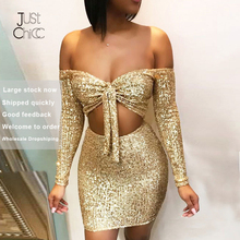 Justchicc זהב חלול החוצה Bodycon 2 חתיכה להגדיר נשים נצנצים ארוך שרוול סקסי מועדון המפלגה מיני שתי חתיכה סט תחבושת חצאית סט 2019