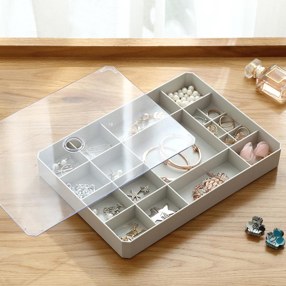 Multi Grid Jewelry Ring Earrings Necklace Display Organizer Holder Storage Box PP Earrings Storage Box Bangle Tray Jewelry Case
