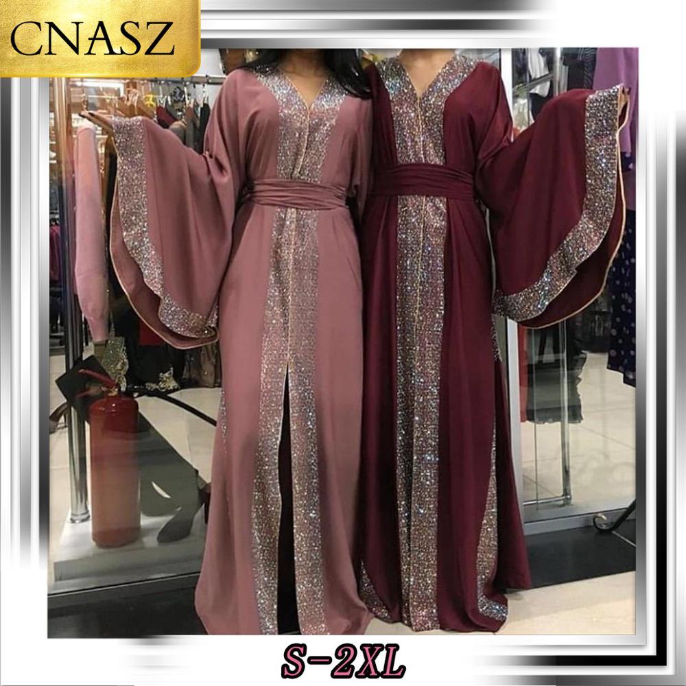 Style Explosion élégant musulman Abaya couleur diamant atmosphérique Robe ouverte malaisie caftan marocain pour les femmes à manches longues vêtements