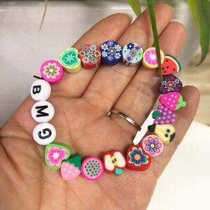 50 stücke 10mm Obst Tier Druck Perlen Polymer Clay Perlen Multicolor Polymer Clay Spacer Perlen für Schmuck Machen DIY armbänder