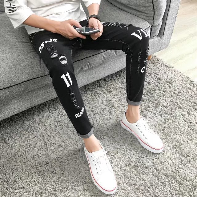 New Style Men's Ripped Pants Capri Pants Casual Korean-style Slim Fit Skinny Pants Teenager Fashion Chao Liu Ku