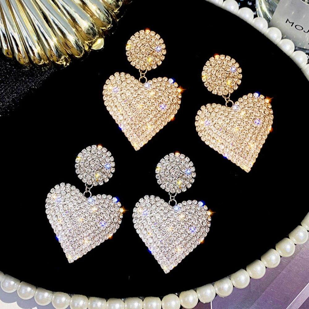 LATS New Heart Earrings Women's Luxurious Geometric Full Rhinestone Earrings Korean Gold/Silver Color Love 2020 Fashion Jewelry