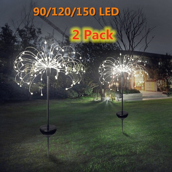 Solar Powered Outdoor Grass  Fireworks Light Lamp 90/120/198 LED For Garden Lawn Landscape Lamp Holiday Light