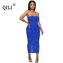 Qili womens diamonds dress black blue sexy apaghetti strap pencil