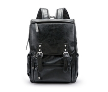 купить Cool Black Backpack PU Leather Large Commuter Bag Laptop Pack Waterproof Travel Backpack дешево