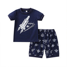 цена на Cartoon Kids Boys Clothes Suits Summer Children Boys Clothing Cotton Short Sleeve Tops+Shorts Kids Clothes Set 2-7 Years