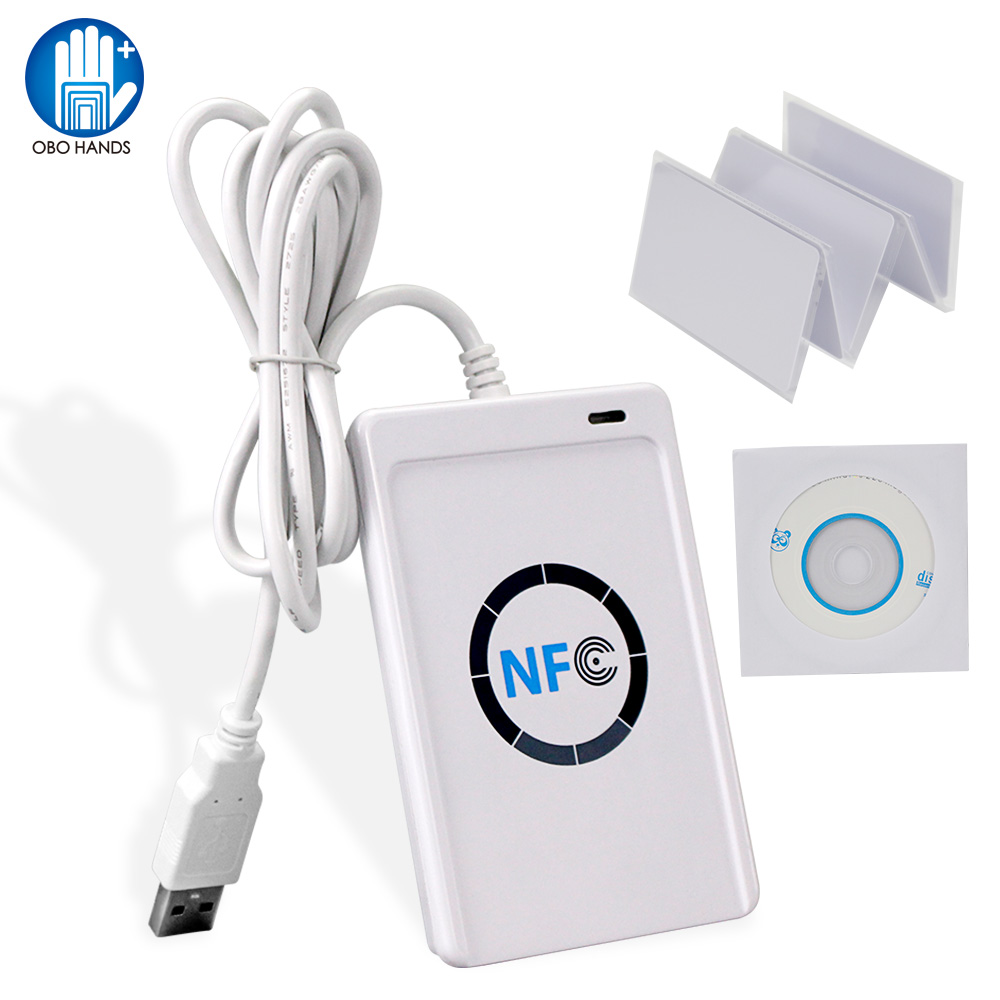 RFID Card Reader Writer 13.56MHz Duplicator NFC Copier ACR122U Programmer With Free SDK Software S50 MF Cards ISO 14443 A/B
