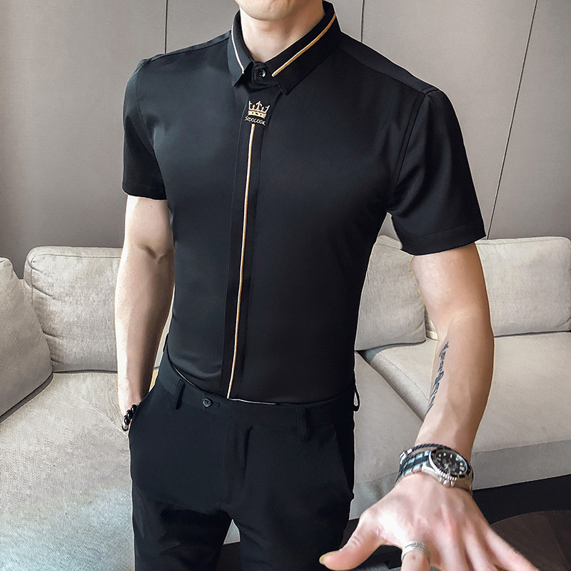 Social Crown Embroidered Tuxedo Dress Shirt Tide S-5XL Summer Korean Men's Shirt Casual Slim Fit Short Sleeve Shirt Streetwear