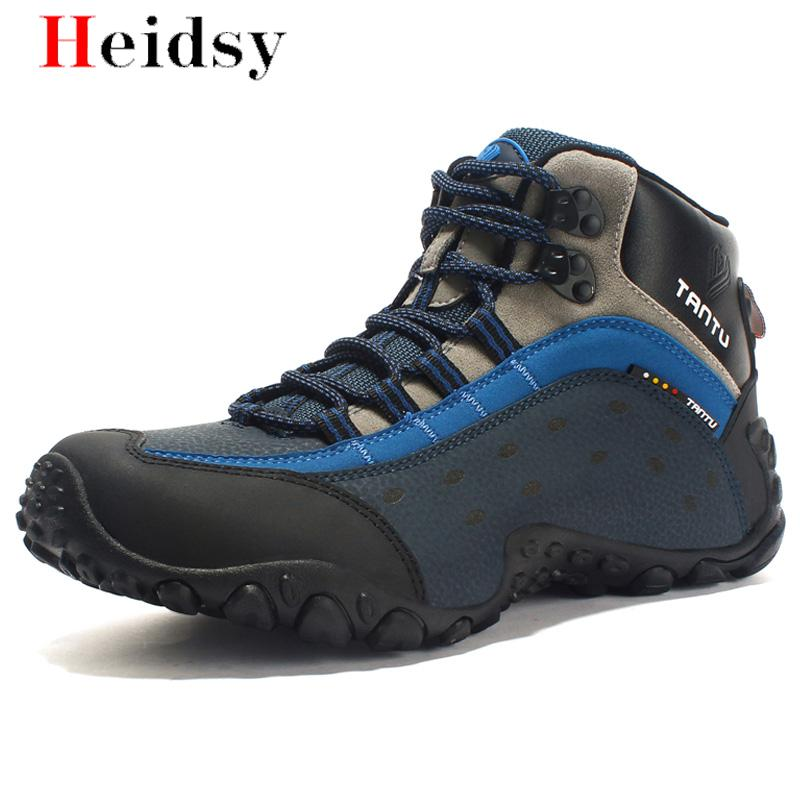 2019 New Safety Shoes Men Ankle No Steel Toe Work Boots Fashion Cow Genuine combat boots zapatos botas hombre Outdoor Sneakers image