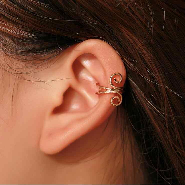 Корейские модные u-образные персональные зажимы для ушей пирсинг зажим для на Хрящ уха креативные геометрические Спиральные серьги оптом