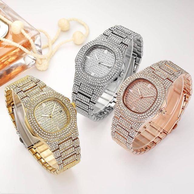 Collar, reloj y pulsera para hombre, cadena cubana de Miami, Color dorado con diamantes de imitación incrustados, joyería de rapero ostentosa CZ, 3 uds. 6