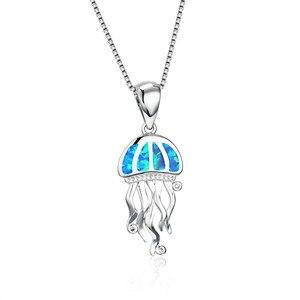 Niebieski ognisty Opal Jellyfish wisiorek naszyjniki dla kobiet 925 Sterling Silver biżuteria dla zwierząt łańcuch damski naszyjnik prezenty na rocznicę