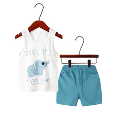 Boys Pajamas Clothes Sets Summer Baby Kids Clothing Vest + Short Pants Casual Sleepwear Cartoon Homewear Outfit 4 5 6 7 8 Years