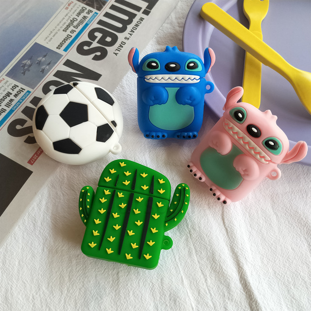 For Airpods 2 Case Silicone Stitch Cartoon Cover For Apple Airpods Case Cute Earphone 3D Headphone case Protective 3