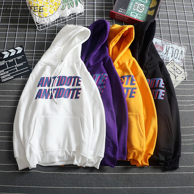 Hoodies Women Simple Harajuku Letter Print Hooded Trendy Plus Velvet All-match New Sweatshirt Female Korean Long Sleeve Pocket