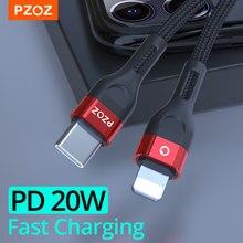 Pzoz pd 20w/18w usb c cabo de carregamento rápido para o iphone 12 pro max 11 xr xs 8 mais ipad mini ar macbook tipo c carregador USB-C cabo