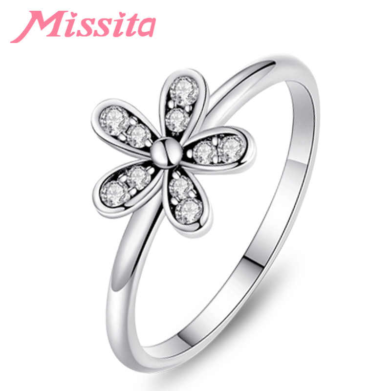 MISSITA 2019 New Fashion Clear CZ Daisy Flower Finger Rings for Women Silver Jewelry Brand Crystal Ring Wedding Gift