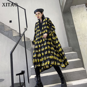 XITAO Streetwear Plus Size Dress Women Trend Printing Long Sleeve V Neck Dresses Oversized Spring Women Clothes 2020 XJ3290