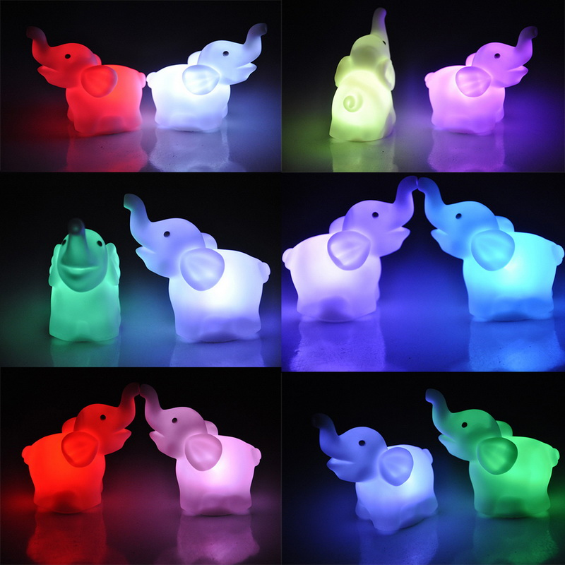 ChicSoleil White Creative Colourful LED Night Lights Elephant Novelty Lighting Glowing Children's Toys