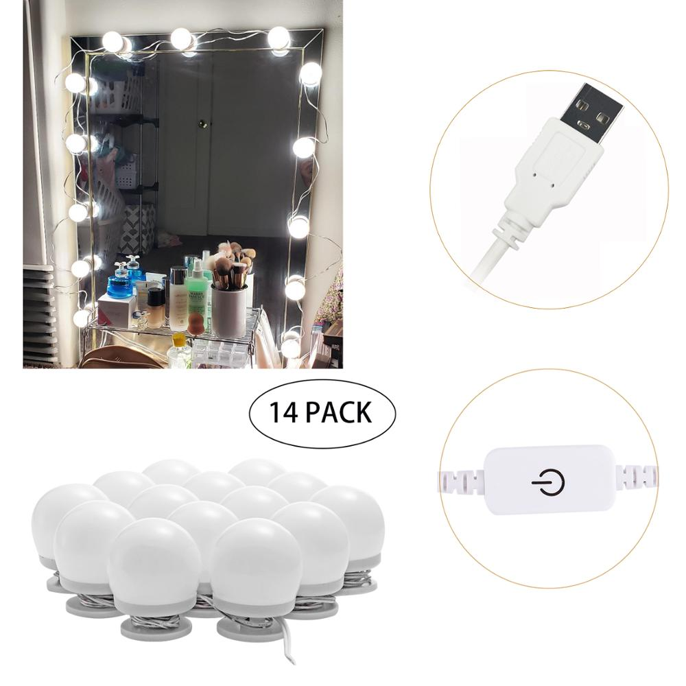 Hollywood Mirror Lights LED  adjustable Bulbs kit Vanity Makeup for wall dresser bathroom with Touch Dimmer and 5V USB plug in 1