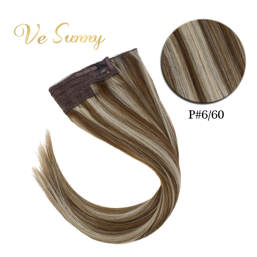 VeSunny One Piece Invisible Halo Hair Extensions 100% Real Human Hair Flip Wire With 2 Clips On Brown Highlighted Blonde #6/60