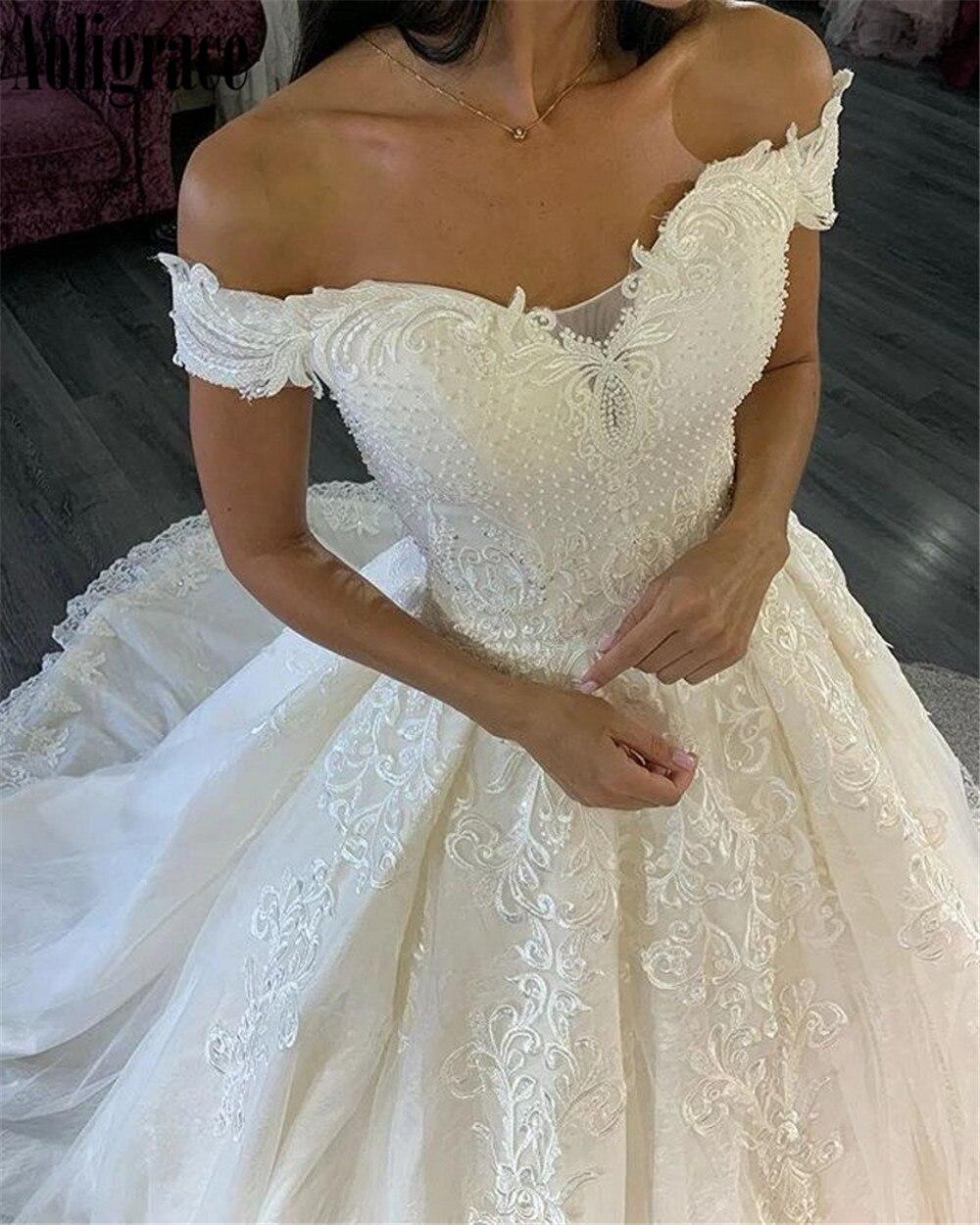 Lace Off Shoulder Wedding Dresses For Bride Appliques Sweep Train Country Bridal Gowns Plus Size Church Vestidoe De Noiva Custom