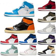 Баскетбольные кроссовки 1s, теннисные туфли, лакированные, розовые, зеленые, черные, фиолетовые, белые, унисекс, размеры 36-46