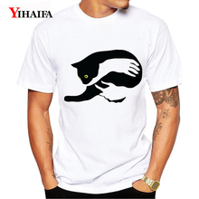 T-Shirt Men Women 3D Print Cat Harajuku Graphic Tees Casual Summer Tee Shirts O-Neck Simple Unisex White Tops