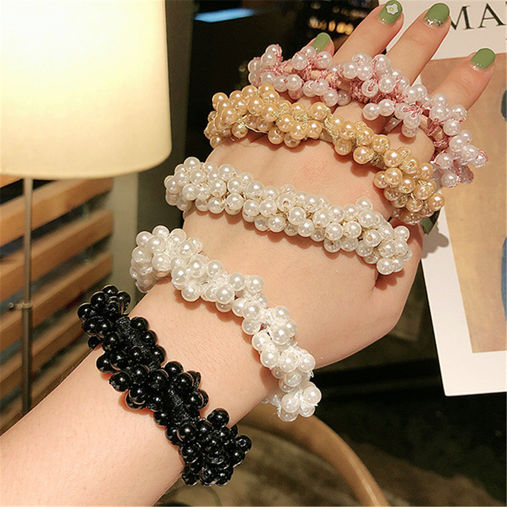 2019 Korean Elegant Scrunchies Woman Fashion Imitation Pearl Beads Hair Rope Gum Rubber Bands Ponytail Holders Hair Accessories