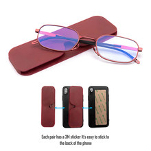 Ultra thin Blue ray reading glasses for both men and women can be attached to the back of the phone