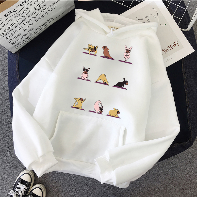KMOGOER Pink Hoodies Vogue French Bulldog Womens Hoodies Pullover Funny Kawaii Long Sleeve Crop Top Oversized Harajuku Hoodie