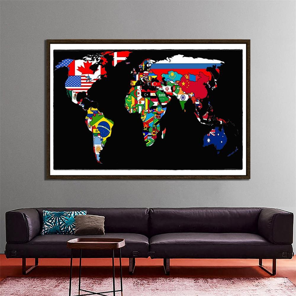 150x225cm World Map Made Up Of National Flags Pattern Non-woven World Map For Home Office Wall Decor