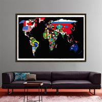 150x225cm World Map Made Up Of National Flags Pattern Non woven World Map For Home Office Wall Decor|Map| |  -