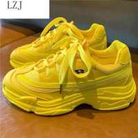 LZJ 2019 New Summer Breathable Mesh Lace-up Women Sneakers Fashion Thick Bottom Womens Platform Casual Shoes Zapatos De Mujer