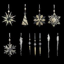 Christmas Ornaments Set Hanging Acrylic Crystal Clear Snowflakes Glitter Icicles D0AC