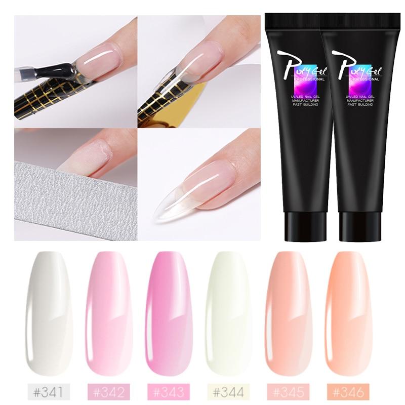Nude Extention Poly Gel DIY Nails Builder Gel Tips Clear Crystal Quick UV PolyGel Builder Nail Art Pink Extension Nail Primer